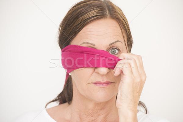 Egy szem bekötött szemű nő portré vonzó érett nő Stock fotó © roboriginal