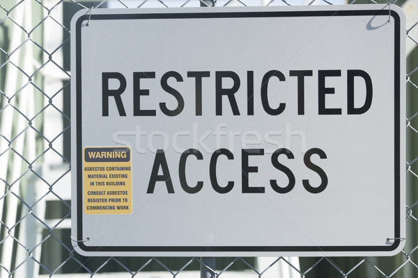 Restricted Access Sign at Asbestos Building Stock photo © roboriginal