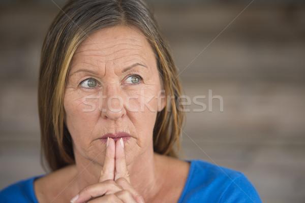 Stock photo: Praying woman hopeful thoughtful portrait