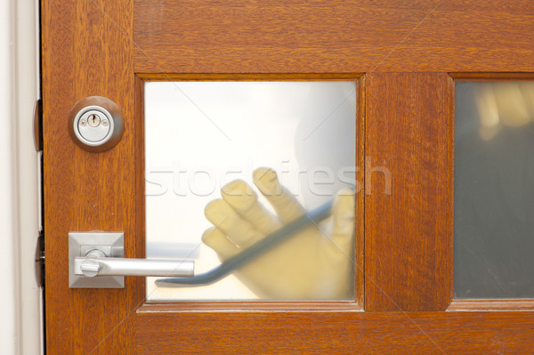 Thief housebreaking security door crowbar Stock photo © roboriginal