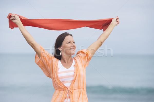 Mulher madura feliz amigável ao ar livre retrato atraente Foto stock © roboriginal