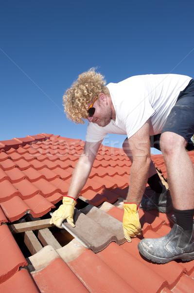 Construction worker tile roofing repairs Stock photo © roboriginal