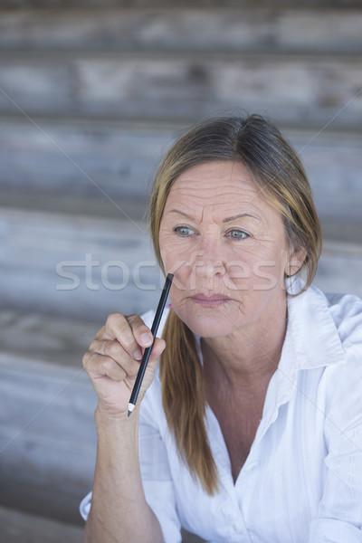 Creative smart mature woman portrait Stock photo © roboriginal