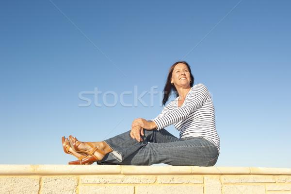Séduisant âge moyen femme souriante extérieur portrait Photo stock © roboriginal