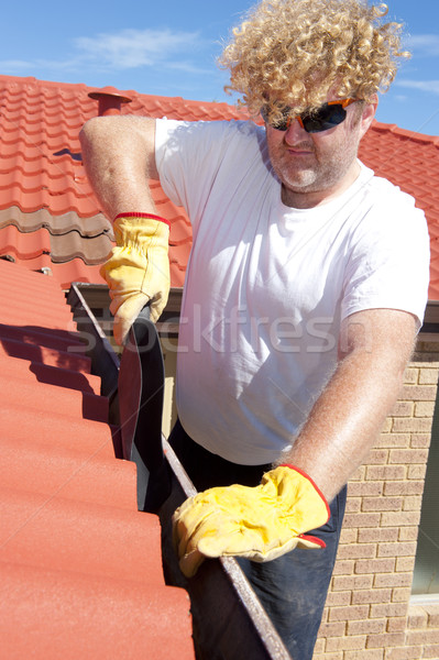 Man seizoen- goot schoonmaken Rood dak Stockfoto © roboriginal