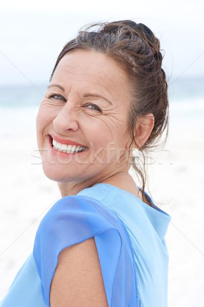 портрет улыбаясь синий блузка красивой Сток-фото © roboriginal