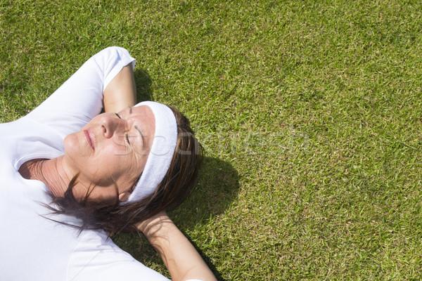 シニア 女性 芝生 肖像 ストックフォト © roboriginal