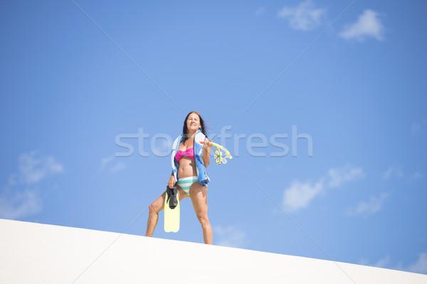 Activo encajar mujer madura duna retrato saludable Foto stock © roboriginal