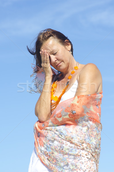 Senior woman migraine headache menopause Stock photo © roboriginal