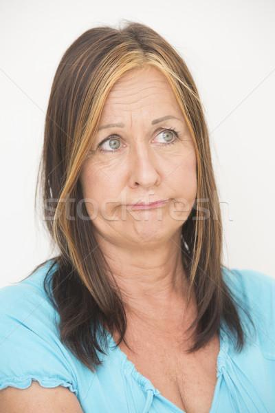 Smutne nieszczęśliwy portret kobiety atrakcyjny starsza kobieta Zdjęcia stock © roboriginal