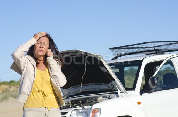 Woman car breakdown road assistance Stock photo © roboriginal