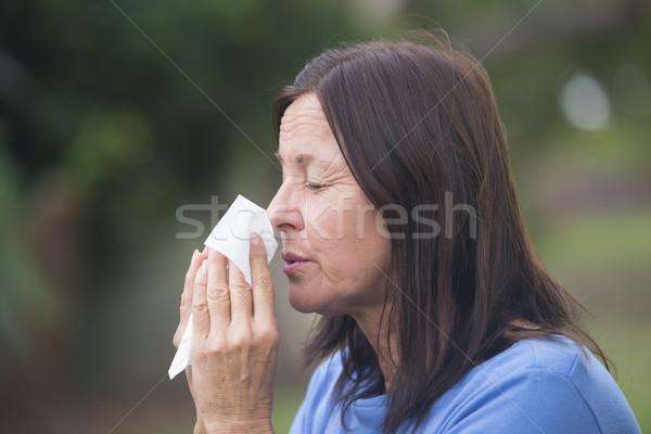 女性 インフルエンザ 花粉症 屋外 肖像 ストックフォト © roboriginal