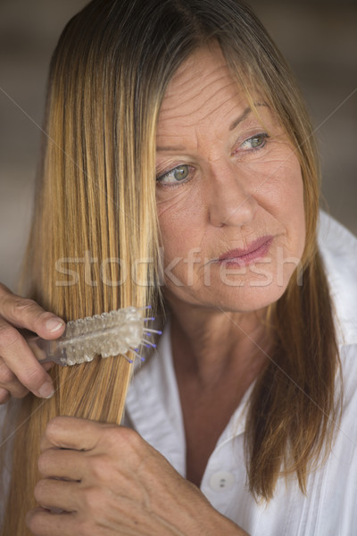 Elegant woman brushing long hair portrait Stock photo © roboriginal