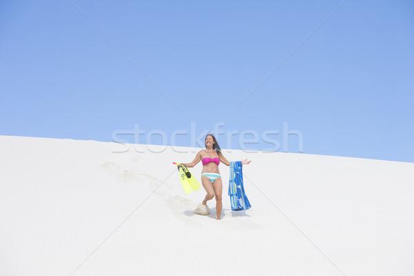 счастливым активный песчаный пляж дюна портрет Сток-фото © roboriginal