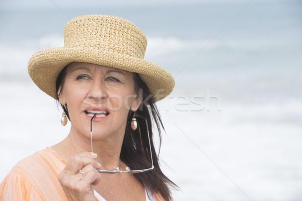 成熟した女性 肖像 魅力的な 夏 帽子 ストックフォト © roboriginal