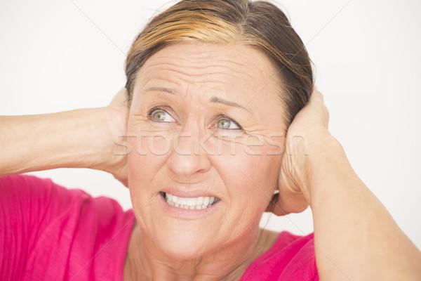Hangsúlyos nő kezek fej portré aggódó Stock fotó © roboriginal