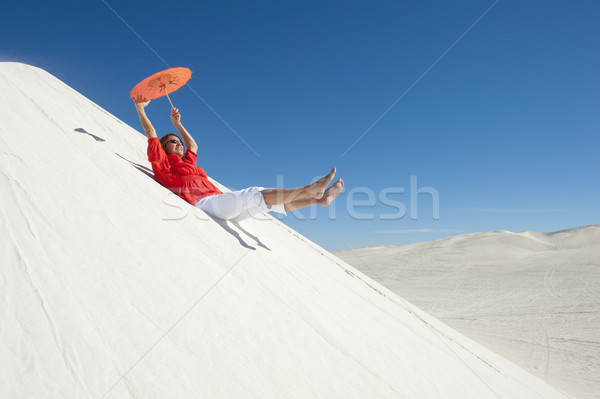 Cheerful woman enjoying outback holiday Stock photo © roboriginal