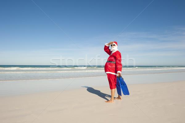 Kerstman christmas vakantie strand permanente kostuum Stockfoto © roboriginal