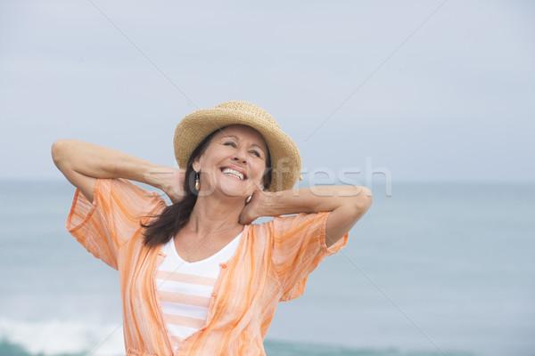 Foto stock: Feliz · alegre · atraente · mulher · madura · retrato · belo