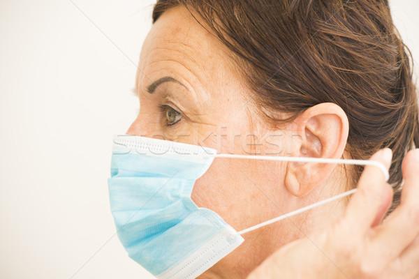 Portret medische verpleegkundige masker gezicht profiel Stockfoto © roboriginal