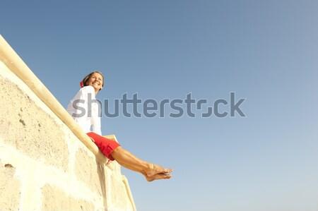 Mooie rijpe vrouw hemel sexy gepensioneerd senior Stockfoto © roboriginal