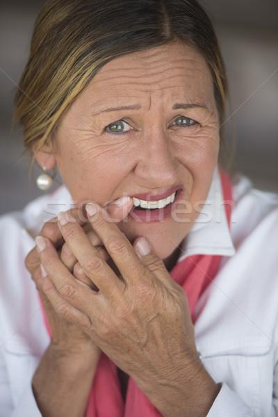 Nő fogfájás fájdalom portré vonzó érett nő Stock fotó © roboriginal