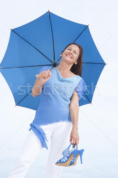 Szexi érett nő magas sarok szandál szabadtér portré Stock fotó © roboriginal