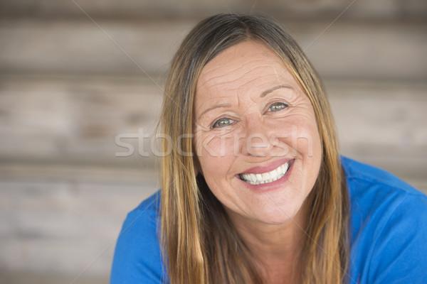 Mutlu dostça çekici olgun kadın portre Stok fotoğraf © roboriginal