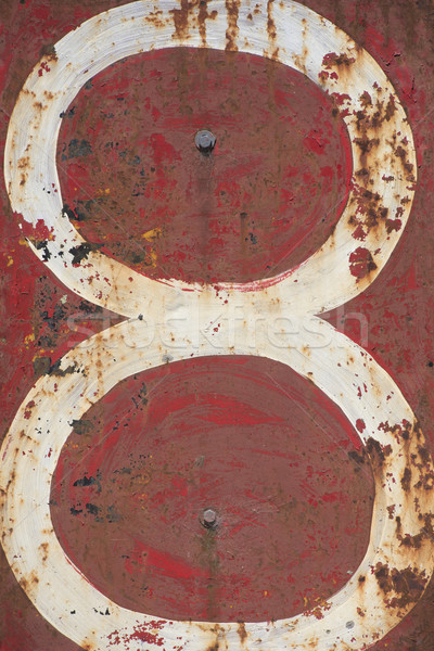 Paslı Metal imzalamak numara sekiz beyaz Stok fotoğraf © roboriginal
