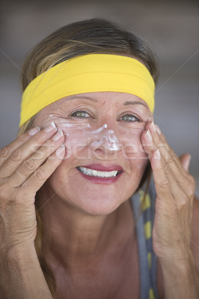 Cuidados com a pele feliz mulher madura retrato saudável caber Foto stock © roboriginal