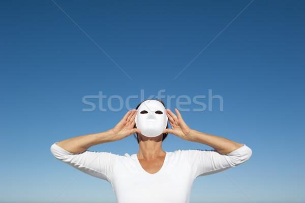 женщину за маске небе таинственный сокрытие Сток-фото © roboriginal