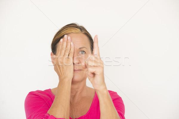 優しい 女性 フォーカス テスト 指 肖像 ストックフォト © roboriginal