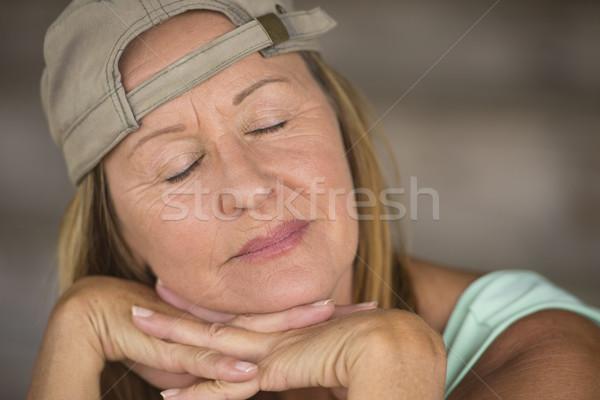 Portrait active fit sleepy woman closed eyes Stock photo © roboriginal