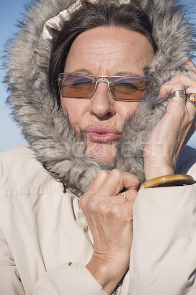 Stock foto: Frau · kalten · Jahreszeit · Jacke · Porträt