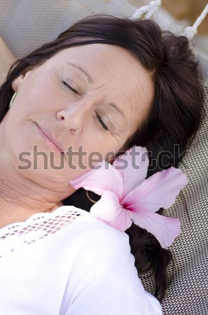 Fáradt érett nő ásít ágy portré nyugodt Stock fotó © roboriginal