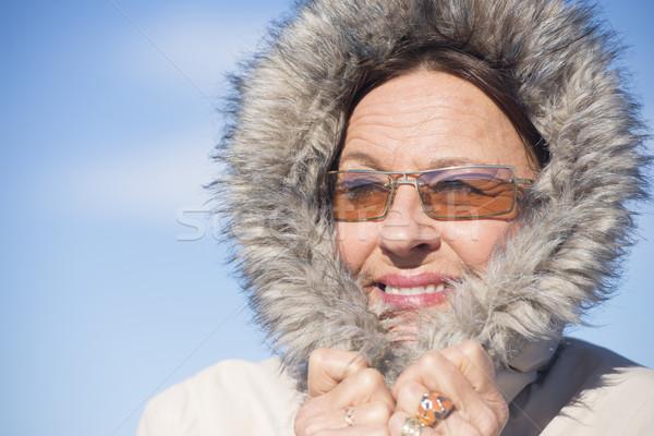 Stock foto: Glücklich · Frau · Winter · Jacke · Porträt