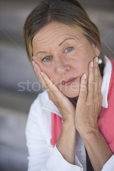 Lonely sad depressed mature woman portrait Stock photo © roboriginal