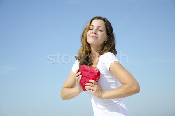 Beatiful young girl with Valentine love heart Stock photo © roboriginal