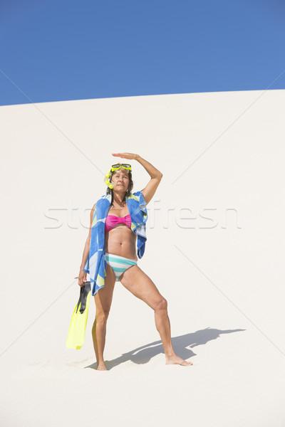 アクティブ 女性 砂丘 砂漠 肖像 魅力的な ストックフォト © roboriginal
