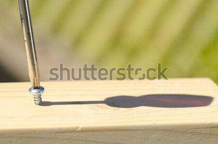 Screw and screwdriver in wood surface Stock photo © roboriginal
