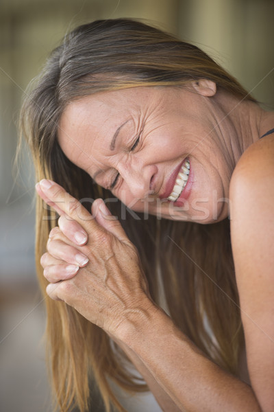 Joyful happy mature woman portrait Stock photo © roboriginal