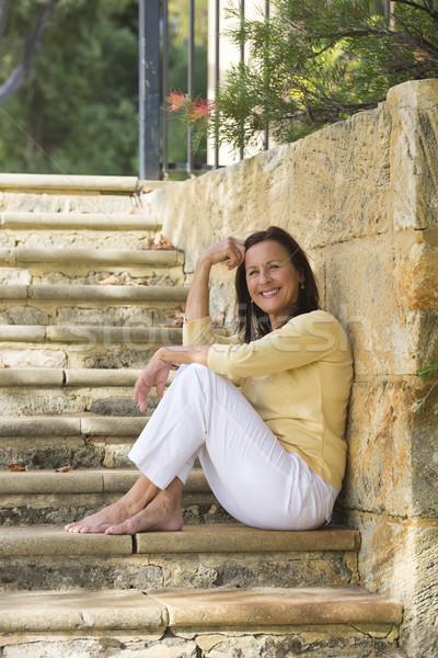 Uśmiechnięty starsza kobieta zewnątrz portret piękna Zdjęcia stock © roboriginal