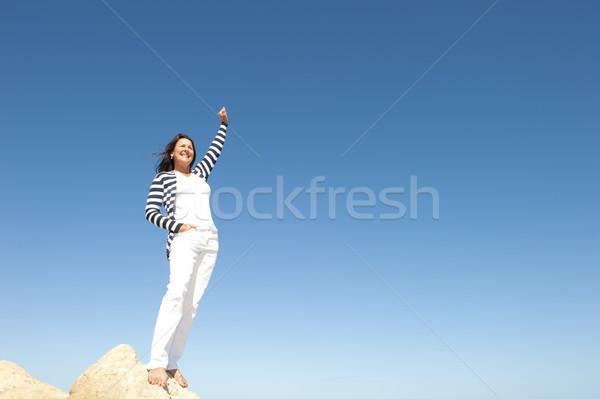 女性 成功 先頭 山 幸せ 成功した ストックフォト © roboriginal