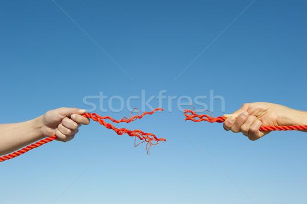 Stock fotó: Kezek · törött · kötél · égbolt · kettő · körül