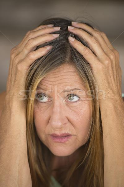 女性 手 頭 肖像 魅力的な ストックフォト © roboriginal
