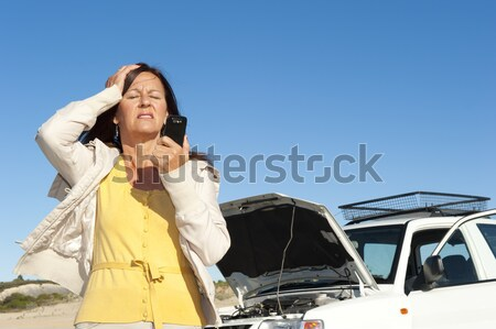 Stock photo: Woman car breakdown