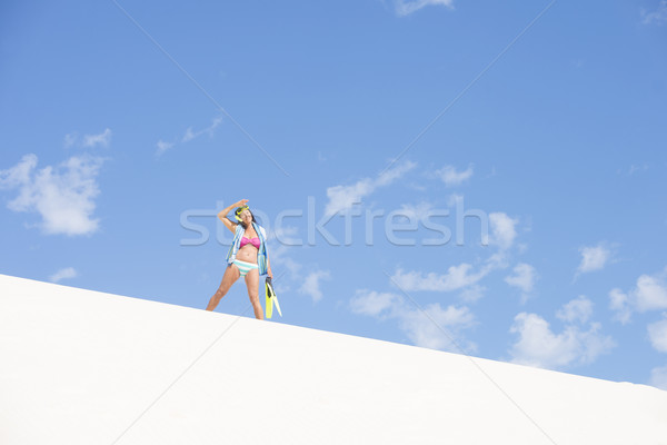 Fit healthy mature woman beach sand dune Stock photo © roboriginal
