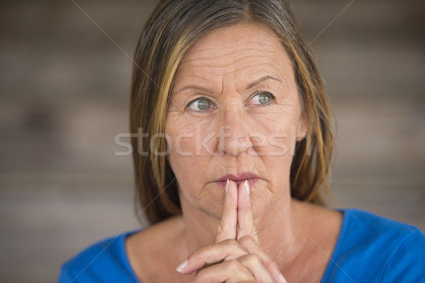 Stock photo: Praying woman hopeful thoughtful