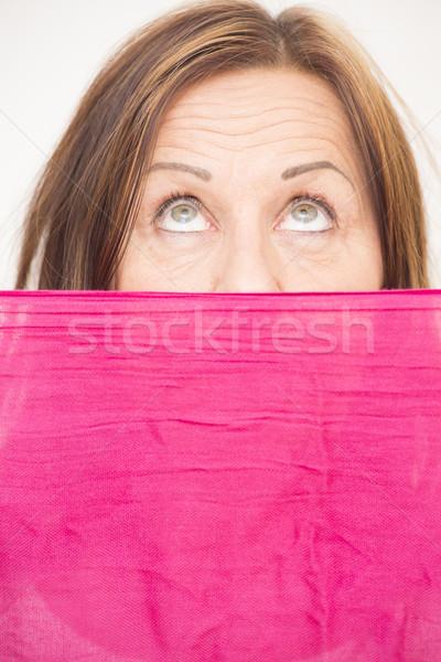 Woman behind cloth upward view Stock photo © roboriginal