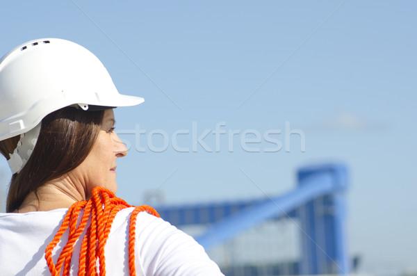 Female worker industrial background Stock photo © roboriginal